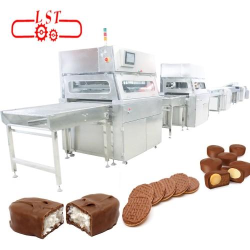 Chocolate caramel enrobing machine